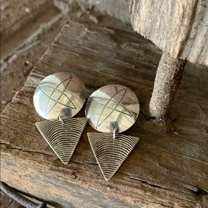 Vintage 90s Sterling Silver Retro Post Earrings